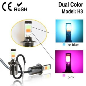 2pc H3 80w Led Car Lamp Auto Drl Fog Light Bulb Ice Blue Pink Dual Color 6500k