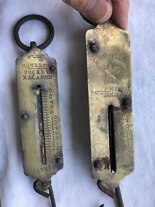 3 Antique Chatillon S Spring Balance New York Hanging Scale 1867 Hughes Pocket