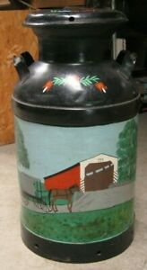 2 Scene Hand Painted Milk Can 10 Gal W Amish Horse And Carriage