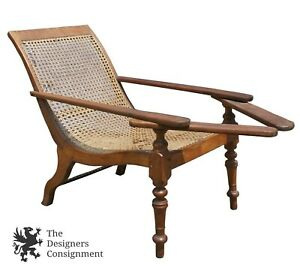 Antique Anglo Indian Satinwood Cane Seat Plantation Planters Lounge Chair