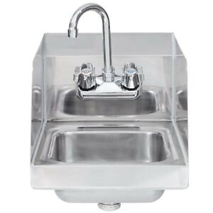 Stainless Steel Hand Sink With Side Splash Nsf Commercial Equipment 10 X