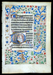 Medieval Manuscript Book Of Hours Leaf Illuminated Miniature Holy Name