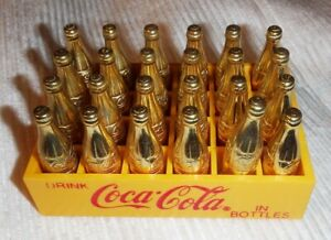 Vintage Mini Coca Cola Crate w/ 24 Gold bottles Miniature *HTF