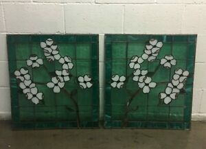 Pair Of Vintage Antique Stained Glass Windows See Note On Condition