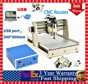4 Axis 400w Spindle 3040t Cnc Engraving Drilling Milling Machine Router 3d Pcb
