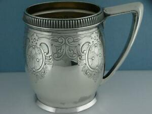 Early Sterling Gorham Mug Cup W Chased Engraved Scroll Patterns C1870 S 6 88ozt