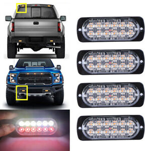 White Red 12led Car Truck Emergency Warning Hazard Flash Strobe Light Universal