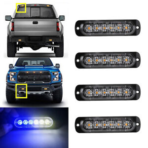 6led White Blue Car Truck Beacon Warning Hazard Flash Strobe Light Bar Universal