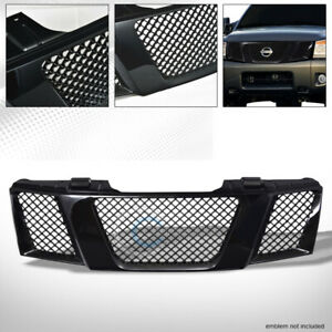 Fit 04 07 Nissan Titan armada Glossy Blk Mesh Front Hood Bumper Grill Grille Abs