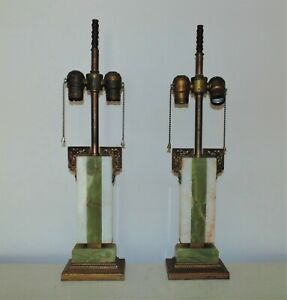 Pair Of Art Deco Onyx Table Lamps Green White