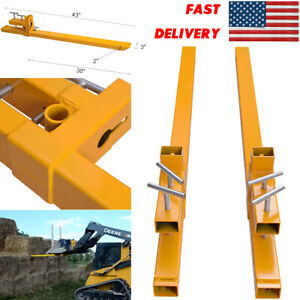 2000lbs Capacity Clamp On Pallet Forks Hd Loader Bucket Skidsteer Tractor Chain