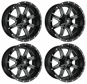 Set 4 22 Fuel Maverick D610 Black Milled Wheels 22x10 5x5 5 5x150 10mm Truck