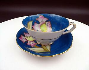 Ctu China Japanese Porcelain Blue And Pink Floral 2 Cup And Saucer Set