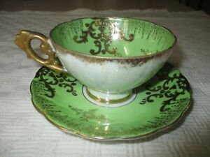 Royal Sealy China Green With Gold Accents Cup Saucer Japan Beautiful