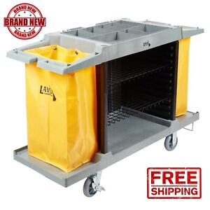 Housekeeping 3 Shelf Cleaning Mop Linen Utilty Cart Hotel Janitor Commercial