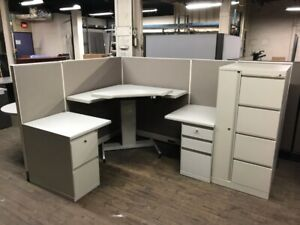 Steelcase Corner Sit stand Desk Cubicle