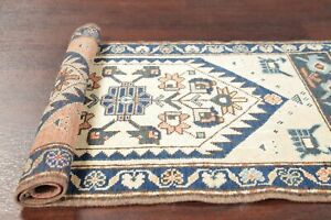 Vintage 2x3 Oushak Turkish Distressed Area Rug Oriental Hand Knotted Ivory Blue