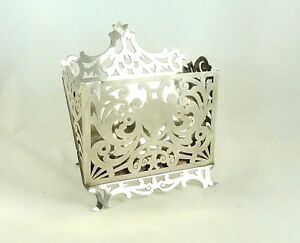 Antique Sterling Silver Letter Card Holder Stationery Stand Desk Accessory