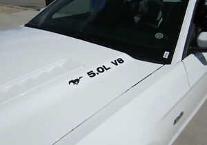 Ford Mustang 5 0 V8 With Pony Hood Decal Pair 2011 2012 2013 2014 Vinyl Sticker