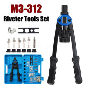 M3 12 Heavy Duty Nut Rivet Riveter Tool Rivnut Nutsert Gun Riveting Kit Thread