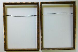 Pair Of Vintage Picture Frames Ornate Gilt Gold Leaf Scroll Holds 14 X 10