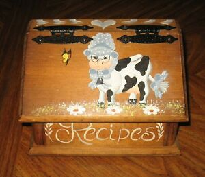 Handcrafted Wood Recipe Box Hand Painted Country Cow Flowers