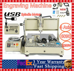 4 axis Cnc 6090 Router Milling Engraving Machine 2200w Usb Diy Cutting Kit