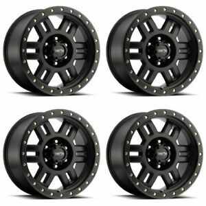 Set 4 17 Vision 398 Manx Black Wheels 17x8 5 8x6 5 0mm Chevy Gmc Dodge 8 Lug