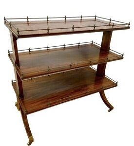 Antique Mahogany Tea Dessert Bar Trolley Cart On Wheels