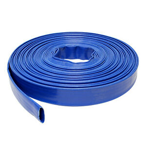 Bisupply Discharge Hose 1 In By 100 Ft Flat Lay Pvc Sump Pump Hose Blue