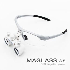 3 5x Magnification Binocular Dental Loupe Surgery Surgical Magnifier With Led