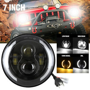7 Led Headlight Hi low Beam W halo Angel Eye Drl Turn Signal For Jeep Wrangler