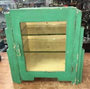 Antique Display Case Perfume Cabinet Wood Glass Art Deco Medical Barber