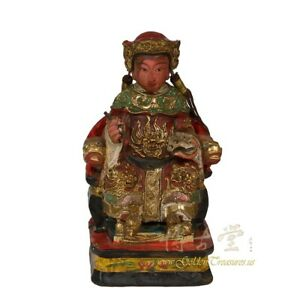 Antique Chinese Wooden Temple Statue Of Immortal Sitting In Chair
