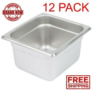 12 Pack 1 6 Size Stainless Steel Steam Table Hotel Food Insert Pan 4 Deep Cps