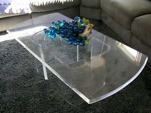 Vtg 60 S Mid Century Lg Heavy Solid Beveled Lucite 4 Ft Rectangle Coffee Table
