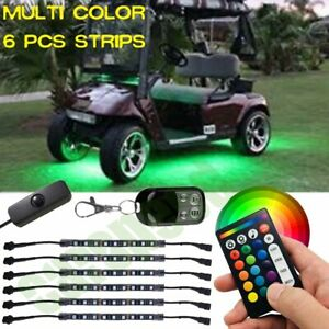6pcs Led Rgb Golf Cart Light Under Body Glow Lighting Kit Accent Neon Strip Bar