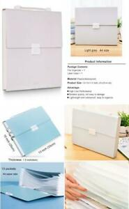 Freude Expanding File Folder With Handle a4 Size Accordion Light Grey