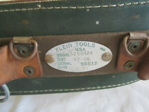 Vintage 78 Klein Tools Heavy Leather Lineman Pole Tree Climbing Belt Sz 42 50
