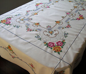 Vtg Hand Embroidered Linen Tablecloth Petit Pt Cross Stitch Filet Lace Inserts