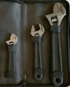 Set Of 3 Blackhawk Adjustable Wrenches Professional Tools With Zipper Case
