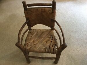 Antique Child S Adirondack Bentwood Twig Chair Hickory