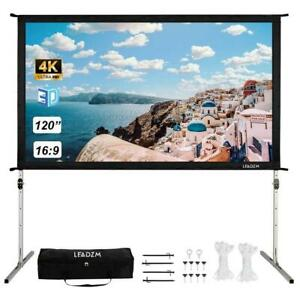 120 Fast Folding 4k 3d Projector Screen Stand Movie Projection And Carry Bag