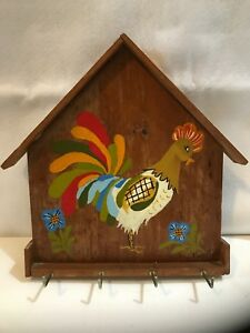 Rustic Primitive Americana Hand Painted Rooster Wood Key Holder 11 25 X11