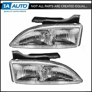 Headlights Headlamps Left Right Pair Set New For 95 99 Chevy Cavalier