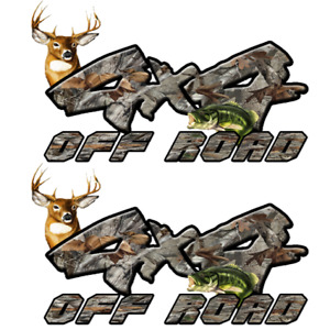4x4 Off Road Camouflage Camo Deer Head Bass Decal Sticker Chevy Dodge Ford