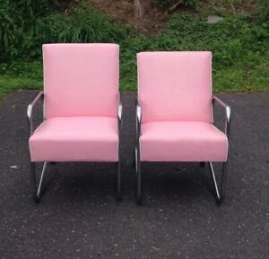 Vintage 1950s Pink Chrome Beauty Parlor Chairs Very Cool Mid Century Modern
