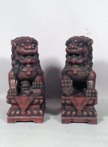 Vintage Pair Of Wood Carved Chinese Foo Dogs