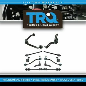 Trq 12 Pc Steering Suspension Kit Control Arms Tie Rods Sway Bar End Links New