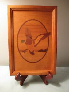 Vintage Hudson River Wood Framed Marquetry Inlay Flying Duck Picture